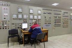 锅炉植物帕纳斯的控制站在圣彼德堡,俄罗斯 图库摄影
