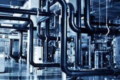 锅炉设备热化测压器现代传递途径泵房系统阀门浇灌 免版税图库摄影