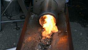 锅炉,气体甲烷火加热器特写镜头,能量变化, 股票视频