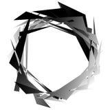 锋利单色圆元素 黑白有角主题, 库存例证