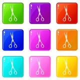 锋利的剪刀象集合9颜色收藏 库存例证