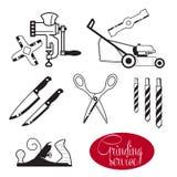 锋利的手工具和齿轮 向量例证