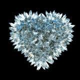 锋利的爱和嫉妒:水晶心脏形状 库存图片