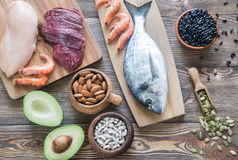 锌的食物来源 免版税库存图片