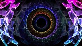 错觉性五颜六色的光无缝的圈摘要动画孔代表下意识的想法,平安的恍惚,经线区域,时间 向量例证