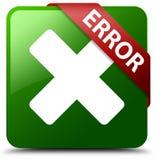 错误取消象绿色正方形按钮 免版税图库摄影