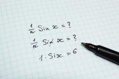 错误和问题的滑稽的解答在数学的 图库摄影