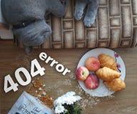 404错误 全部赌注在一块板材旁边平安地睡觉用酥皮点心,美味,并且附近驱散果子,剥落,和 库存图片