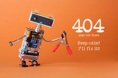 错误404页没被找到的页 保留安静我` ll固定它 有红色钳子的友好的机器人玩具 乐趣杂物工字符 免版税库存照片