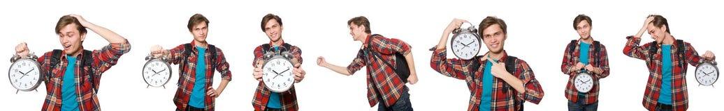 错过他的最后期限的恼怒的学生 免版税库存照片