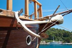 锚点小船详细资料老航行 免版税库存图片