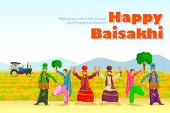 锡克教徒的做的Bhangra,旁遮普邦,印度的民间舞 免版税库存图片