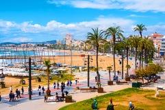 锡切斯,西班牙鸟瞰图海滩 图库摄影