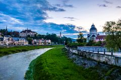 锡吉什瓦拉,匈牙利- 2019年5月17日:老镇的看法在晚上 库存图片