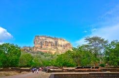 锡吉里耶岩石堡垒,第5 Century's破坏了是作为一个世界遗产名录站点被列出的联合国科教文组织在斯里兰卡的城堡 库存图片