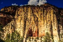 锡安国家公园,犹他参天的峭壁  库存照片