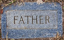 锡安路德教会的公墓父亲标志 免版税库存照片
