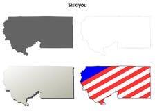 锡斯基尤县,加利福尼亚概述地图集合 免版税库存照片
