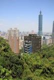 从锡昂队山的台北101在台北,台湾, ROC 免版税图库摄影