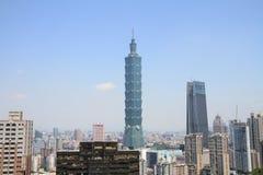 从锡昂队山的台北101在台北,台湾, ROC 免版税库存图片
