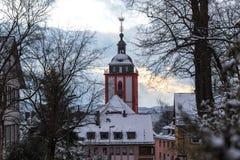锡根德国尼古拉教会在冬天 库存图片