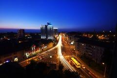 锡比乌市晚上全景 免版税图库摄影