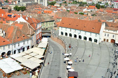 锡比乌市鸟瞰图 免版税图库摄影