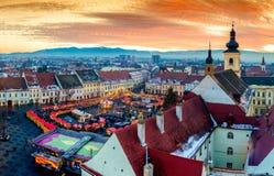 锡比乌特兰西瓦尼亚罗马尼亚鸟瞰图全景  免版税图库摄影