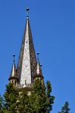 从锡比乌,特兰西瓦尼亚的福音派大教堂钟楼 免版税图库摄影