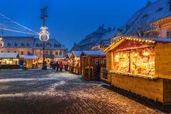 锡比乌,罗马尼亚- 2017年11月27日:圣诞节市场在锡比乌 库存图片