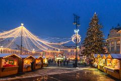 锡比乌,罗马尼亚- 2017年11月27日:圣诞节市场在锡比乌 库存照片