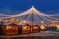 锡比乌,罗马尼亚- 2017年11月27日:圣诞节市场在锡比乌 图库摄影