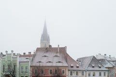 锡比乌,罗马尼亚- 2017年11月27日:第一雪在锡比乌,罗马尼亚, 库存图片