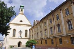 锡比乌, 6月16日:修道院和教会从锡比乌街市的Ursulinelor在罗马尼亚 库存照片