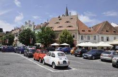 锡比乌, 6月16日:从锡比乌小正方形的街道视图在罗马尼亚 免版税库存照片