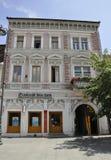 锡比乌, 6月16日:从锡比乌罗马尼亚街市的历史议院  库存照片