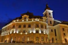 锡比乌-夜视图-罗马尼亚 免版税库存照片
