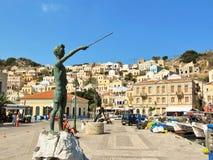 锡米岛海岛,希腊- 2014年10月4日- Michalakis -男孩机智 免版税库存照片