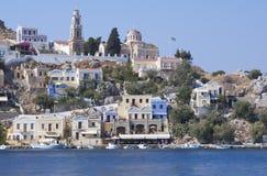 锡米岛,希腊镇  免版税库存照片