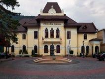 锡纳亚城镇厅在锡纳亚,罗马尼亚 库存图片