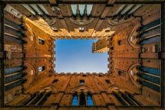 锡耶纳从里面看见的palazzo pubblico反对天空 库存图片