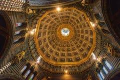 锡耶纳大教堂中央寺院二锡耶纳,意大利天花板  免版税库存图片