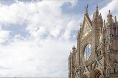 锡耶纳大教堂的上部门面,锡耶纳,托斯卡纳,意大利 免版税库存图片