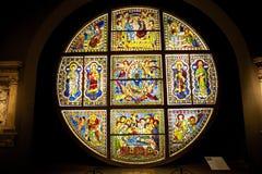 从锡耶纳大教堂的污迹玻璃窗,托斯卡纳,意大利 库存照片