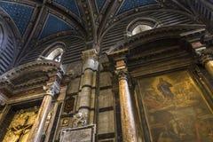 锡耶纳大教堂,锡耶纳,意大利内部和细节  免版税库存照片