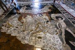 锡耶纳大教堂,锡耶纳,意大利的路面 库存照片
