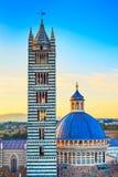 锡耶纳日落、大教堂中央寺院和钟楼塔地标。托斯卡纳, 免版税库存照片