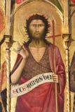 锡耶纳洗礼池-圣约翰Polyptich浸礼会教友 免版税图库摄影