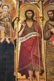 锡耶纳洗礼池-圣约翰Polyptich浸礼会教友 库存图片