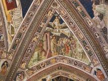 锡耶纳洗礼池-天堂和地狱 免版税库存照片